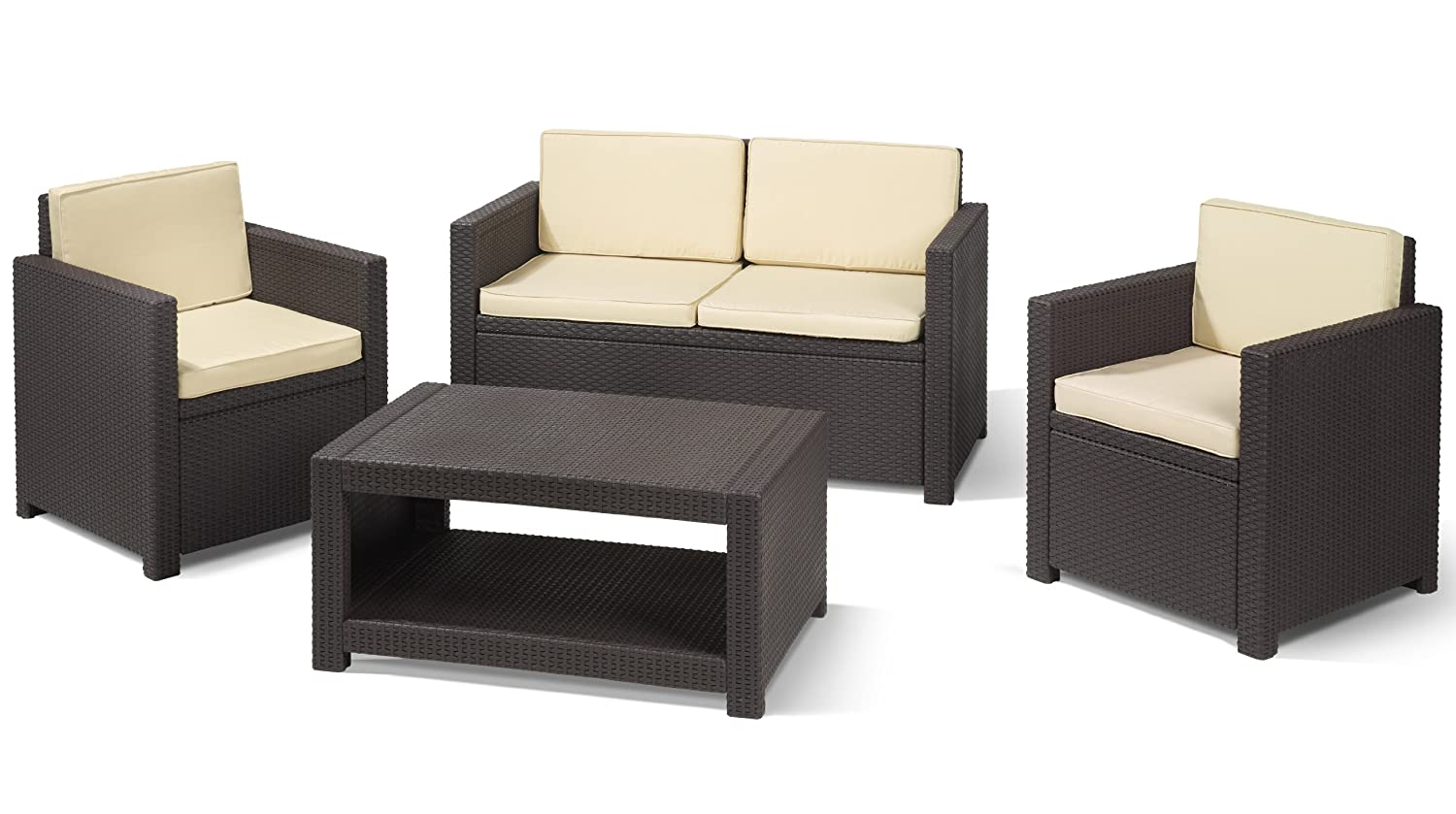 allibert m bel lounge set monaco braun g nstig kaufen. Black Bedroom Furniture Sets. Home Design Ideas