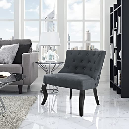 LexMod Royal Fabric Armchair in Gray