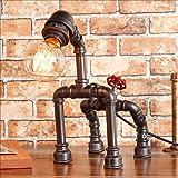 ZJF Retro Industrial Scooter Light American DIY Creative Robot Iron Water Pipe Light Cafe Bar Desktop Light (Size: 34 33cm)