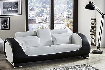 SAM® Design Sofa Vigo 3-Sitzer in weiß-schwarz mit bequemen verstellbaren Kopfstutzen, futuristisches Design, angenehmer Sitzkomfort, pflegeleichte Oberfläche