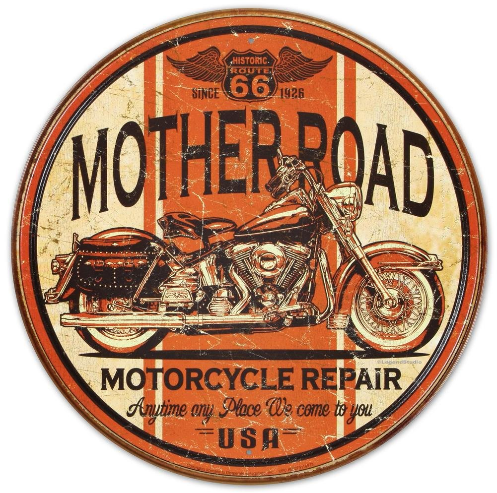 Mother Road Motorcycle Repair Round Distressed Retro Vintage Tin Sign 0