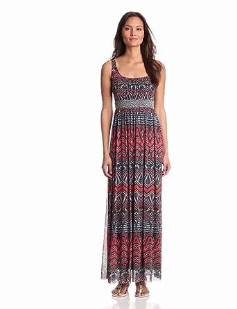 Weston Wear Women's Ana Mesh Maxi Dress, Orange, X-Small at Amazon