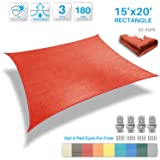 Patio Paradise 15' x 20' Red Sun Shade Sail Rectangle Canopy - Permeable UV Block Fabric Durable Patio Outdoor - Customized Available