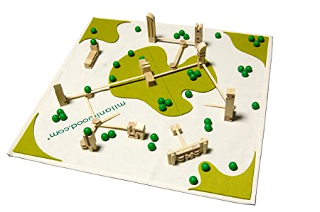 Milaniwood Metro Mini City Tapis de jeu Construction en bois Ville Fair Trade
