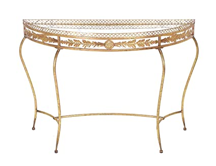 Plutus Brands Beautiful Metal Console Table with Traditional Design