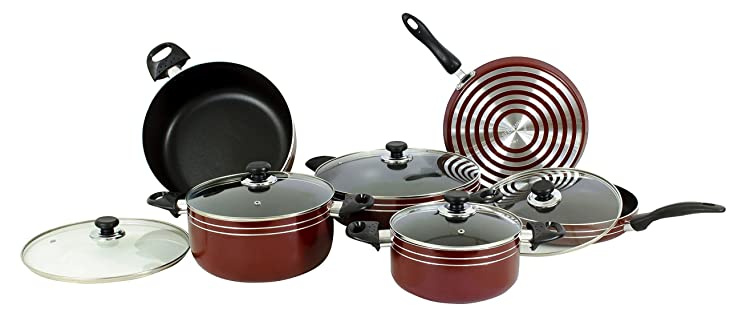 Major-Q 17 Piece Nonstick Pots and Pans Kitchen Cookware Gift Set, Red