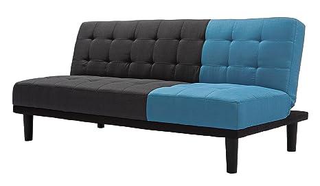 Bizzotto Bicolor Divano Letto, Tessuto, Azzurro/Grigio, 181 x 90 x 75 cm