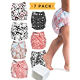 Cloth Diapers - 7 Piece Reusable Diaper Cover Set - Bonus 7 Baby Soft Insert Liners, Waterproof Carry Bag - All in One Pack - Unisex Pocket Design for Boys & Girls - Great for Baby Shower (Color: Unisex)