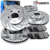 FRONT BLACK HART DRILL//SLOT BRAKE ROTORS-Ford EXPLORER SPORT TRAC 2003-2005 4WD
