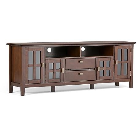 Simpli Home AXCHOL005-72 Artisan 72 Zoll TV Media Stand, Holz, medium auburn braun, 182.88 x 41.91 x 66.04 cm