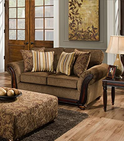 Chelsea Home Furniture Fairfax Loveseat, Cornell Chestnut/Alpaca Cumin Pillows