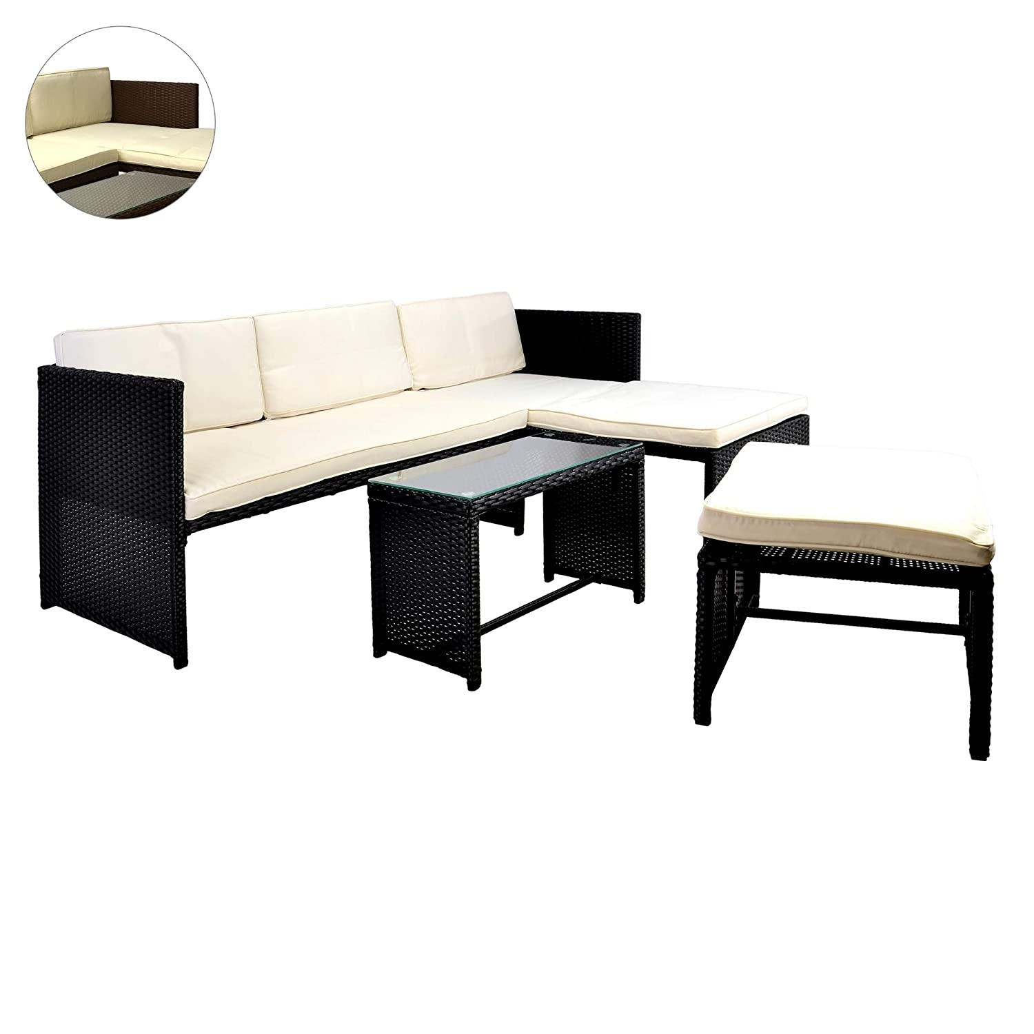 rattan sitzecke mit tisch poly rattan garnitur sitzgruppe. Black Bedroom Furniture Sets. Home Design Ideas