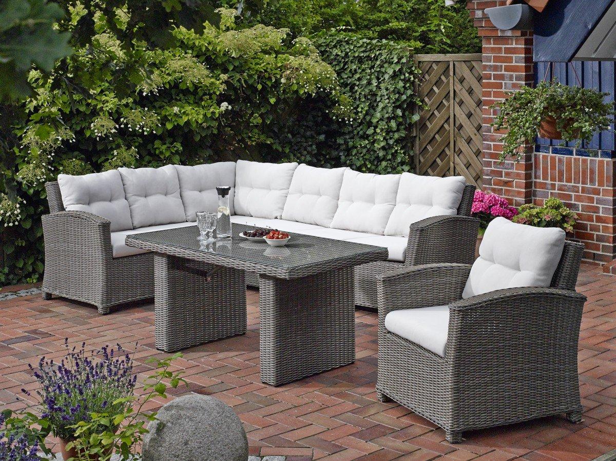 Dreams4Home Lounge 'Sidney' Gartenmöbel mit Polster inkl. Tisch Loungemöbel Rattan Garten