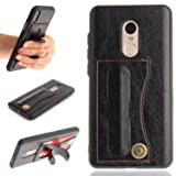 Xiaomi Redmi Note 4 Case, Note 4X Case, Tznzxm Fashion Design [Card Holder] [Scratch/Dust Proof] Pu Leather Pattern Protective Shockproof Cover [Slim Fit] Bumper Back Kickstand Case Black (Color: Black.)