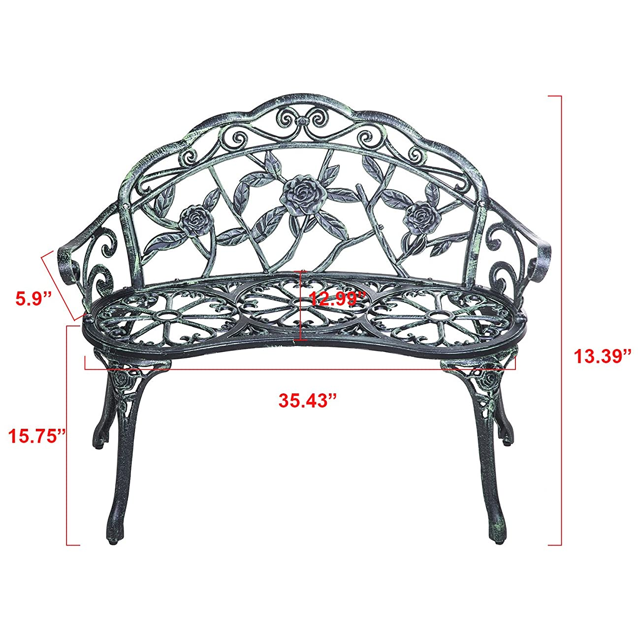 Merax Cast Iron Antique Rose Style outdoor Patio Garden Park Bench, Cast Iron 1