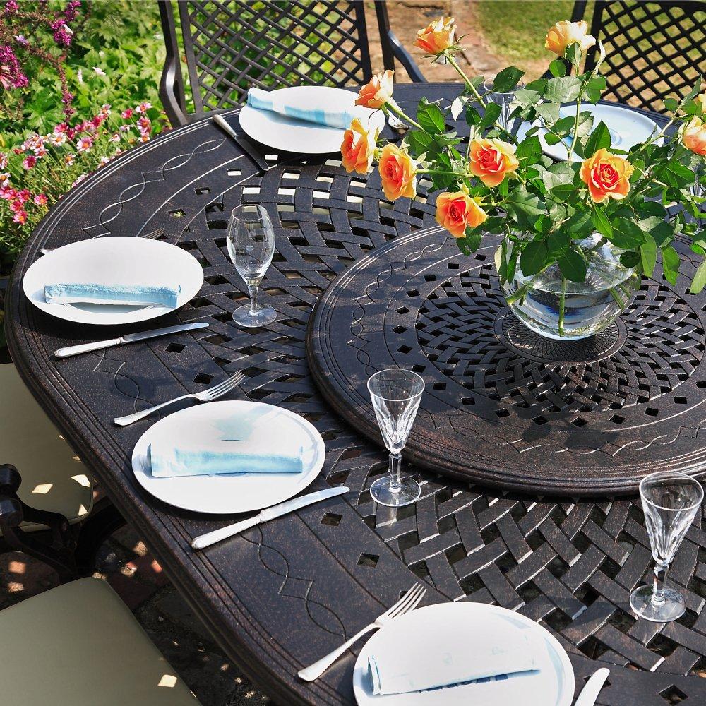 ELISABETH 250 x 180cm Ovales Aluminium Gartenmöbelset - 1 Elisabeth Tisch + 10 APRIL Stühle
