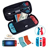 ?Nintendo Switch Case Game Accessories 4in1 Protector Kit Set? Travel Case/Joy-con Protector/2x Screen Protector/2x Game Card Storage Case by ANGPO(Oxford-Blue)