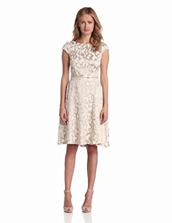 Anne Klein Women's Reflection Print Jacquard Dress, Buff, 16