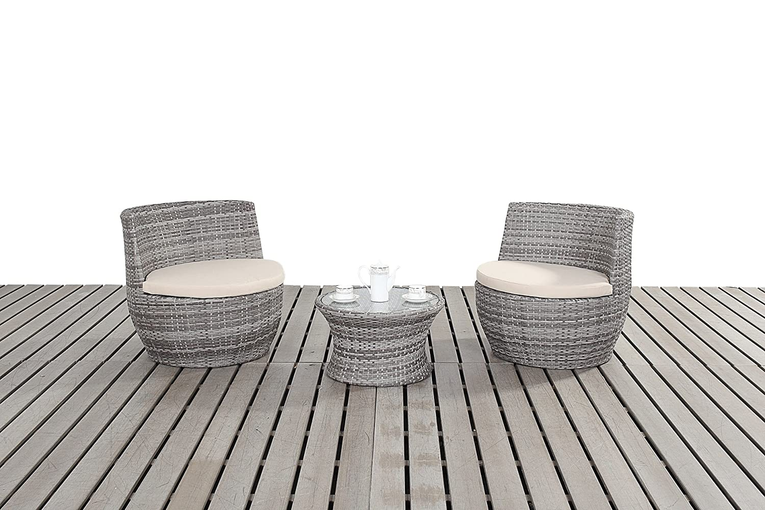 Dallas rustikal Garten Bistro Set, 2 Stühle stapelbar