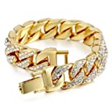 Davieslee Mens Womens Chain Hiphop Iced Out Curb Cuban Gold Plated Bracelet w/ Clear Rhinestones 8.58inch 22cm