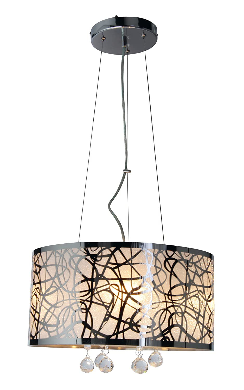Naeve Leuchten Pendelleuchte chrom mit Glaskristallen, ø 40 cm, l: 150 cm 7030342