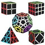 Dreampark Speed Cube Bundle [5 Pack] 2x2 3x3 Megaminx Skewb Pyramid Carbon Fiber Sticker Magic Cube Puzzle Toy Set of 5 (Color: Black)