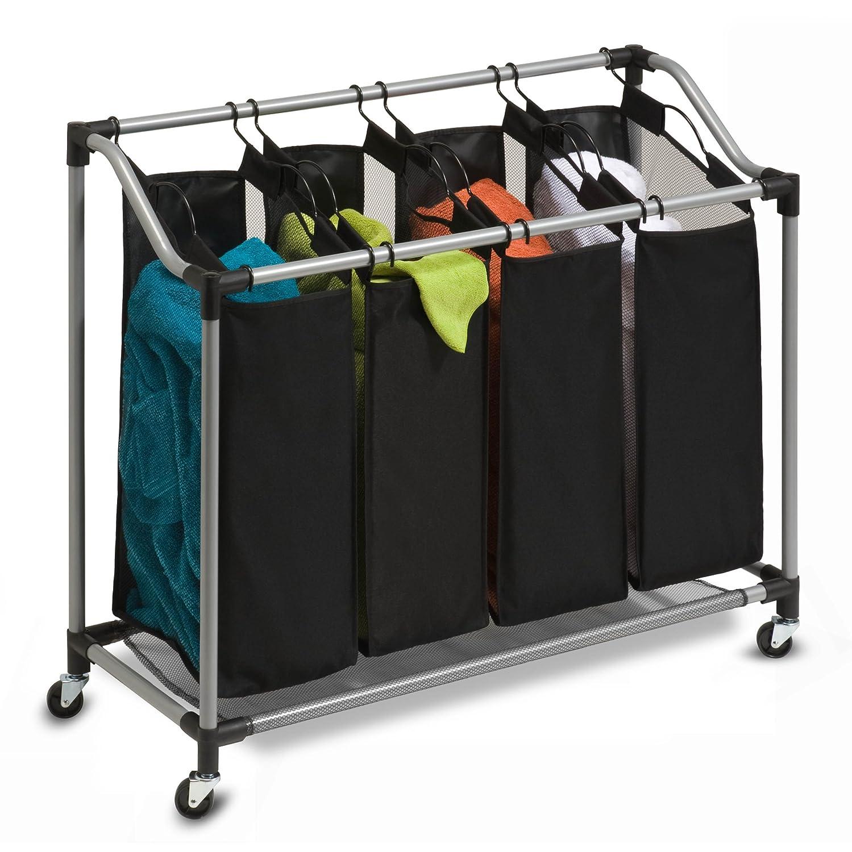 Deluxe Quad Portable Rolling Laundry Hamper Sorter Basket ...