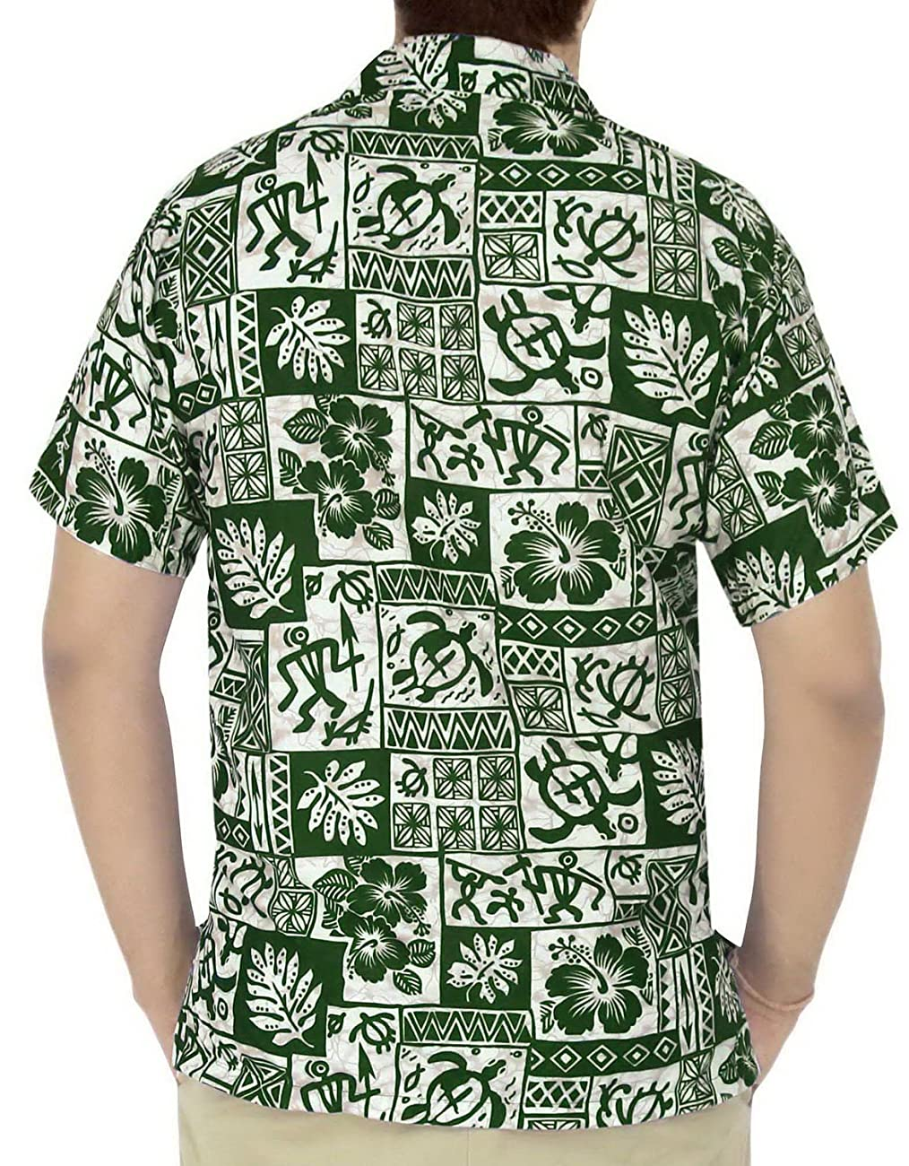 La Leela Hawaiian Shirt For Men Short Sleeve Front-Pocket Vintage Flora Green 1