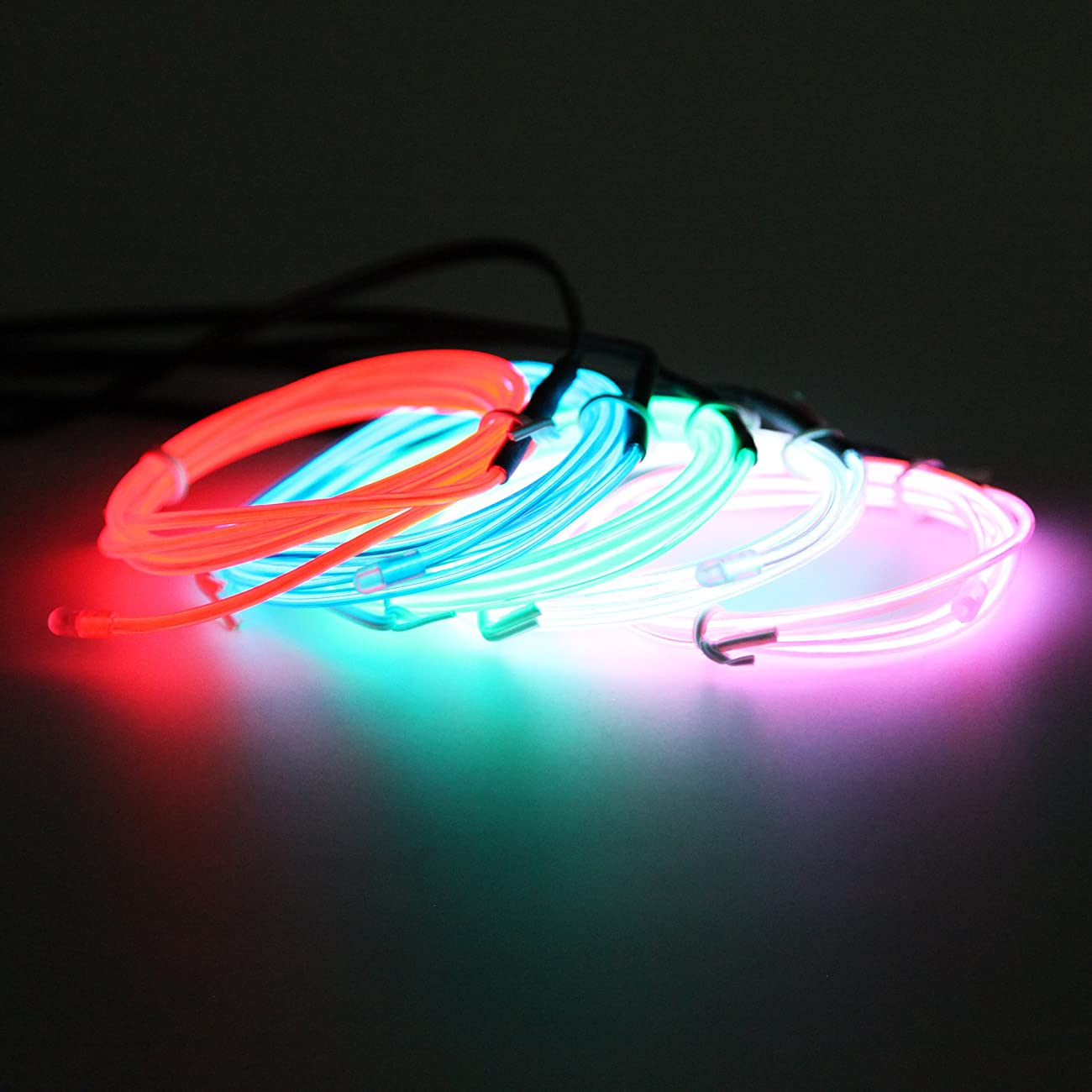 Exlight 5 X 1 Metre Neon Light El Wire- New Drive Electroluminescent Multiple Color-Set of 5(Blue, Green, Red, Pink, and White) 6
