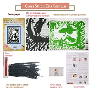 Cross Stitch Stamped Kits Pre-Printed Cross-Stitching Patterns for Beginner Kids Adults, Embroidery DIY Crafts Needlepoint Starter Kits, Fairy Tales Cat Rabbit Princess (Color: Stamped 22x16.5 inch, Tamaño: 18x12.6 inch)