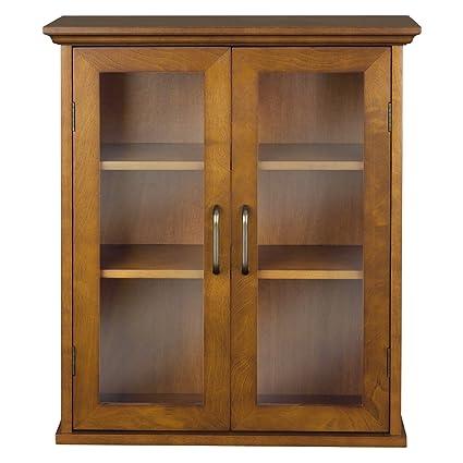 Oak Finish Bathroom Wall Cabinet with Glass 2-Doors & Shelves
