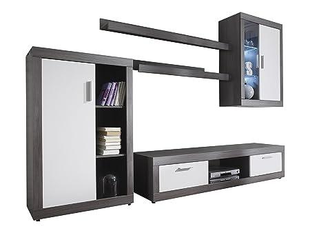 Maisonnerie 1498-947-03 Ensemble Meuble TV Design Ocean Blanc/Argent Cendré LxHxP 293x188x44 cm