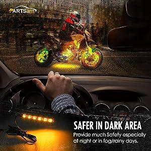 Partsam LED Strip Light Bar 2 x 6 LED Mini Black Third Brake Light Motorcycle Turn Signal Backup License Plate Universal Amber Lights Strip (Color: 6LED turn signal light)
