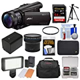 Sony Handycam FDR-AX100 Wi-Fi 4K HD Video Camera Camcorder with 64GB Card + Case + LED Light Set + Battery + Tripod + Fisheye Lens + Filter Kit (Color: Black)