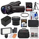 Sony Handycam FDR-AX100 Wi-Fi 4K HD Video Camera Camcorder with 64GB Card + Case + LED Light Set + Battery + Tripod + Fisheye Lens + Filter Kit (Color: Black)