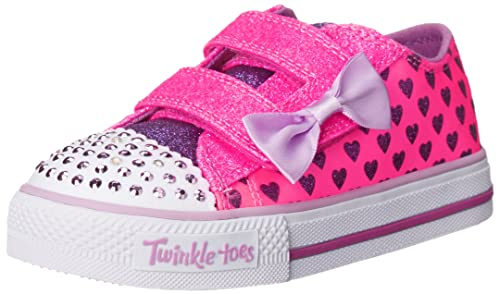 Skechers Kids Shuffles-Sparkle Love Light-Up Sneaker (Toddler), Neon Pink/Purple, 5 M US Toddler