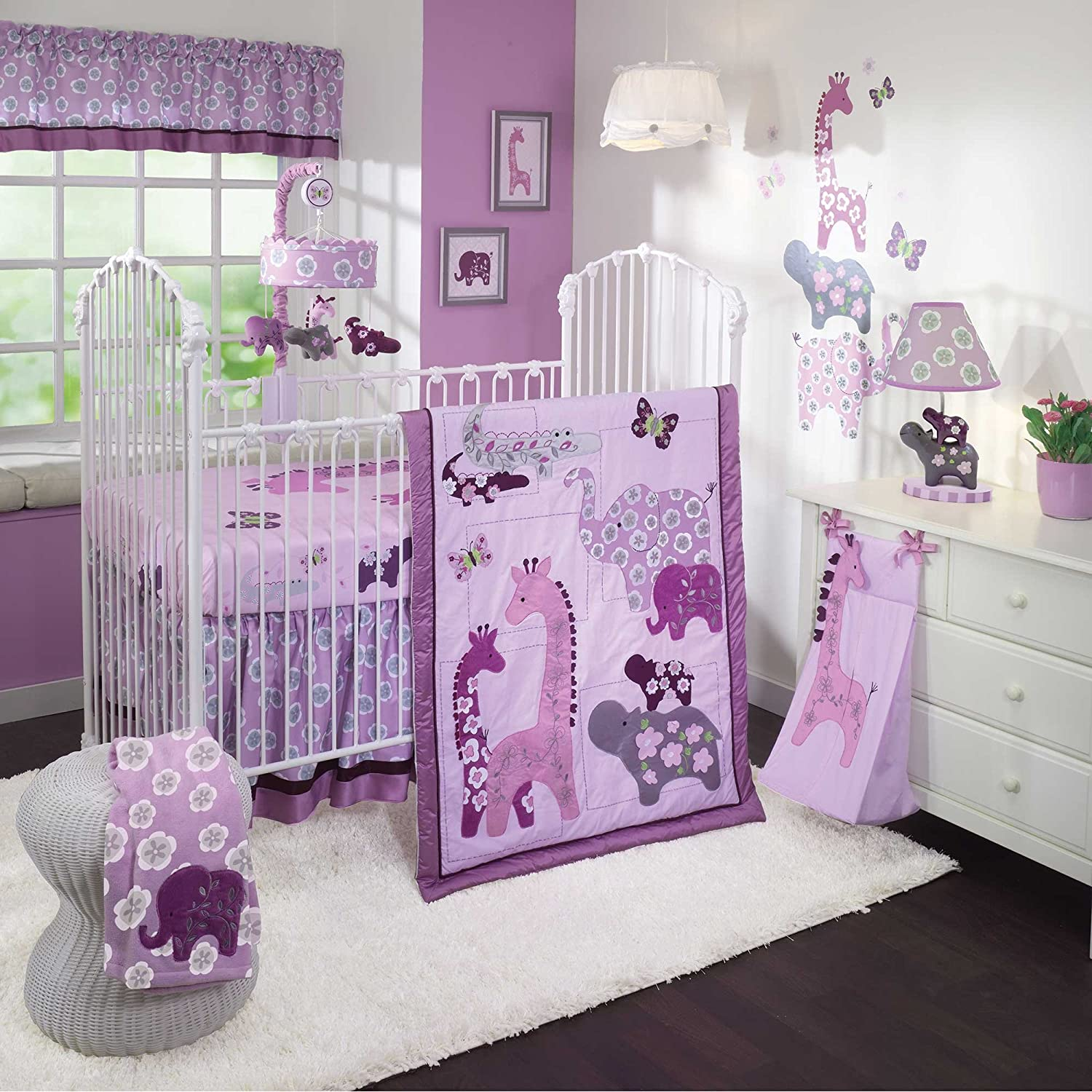 lambs and ivy lavender jungle baby bedding collection. Black Bedroom Furniture Sets. Home Design Ideas