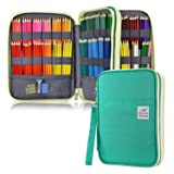 YOUSHARES 192 Slots Colored Pencil Case, Large Capacity Pencil Holder Pen Organizer Bag with Zipper for Prismacolor Watercolor Coloring Pencils, Gel Pens & Markers for Student & Artist (Green) (Color: green)