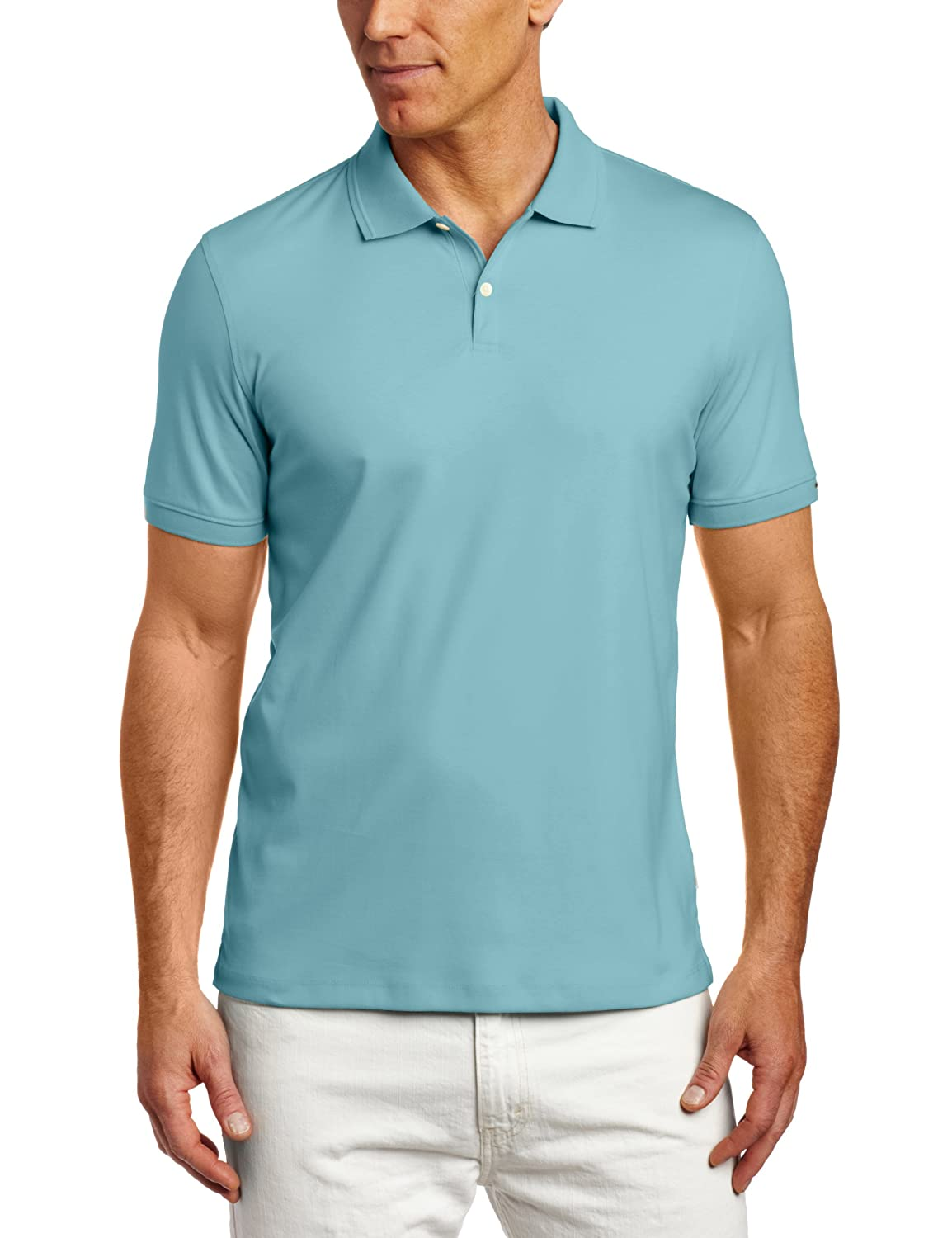 Calvin Klein Sportswear Men's Short Sleeve Solid Liquid Polo Shirt, Delphinium Blue, Medium