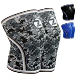 Z ZEALSPOT Knee Sleeves-Compression and Support for Weightlifting, WOD, Squats, Gym, Powerlifting and Crossfit-7mm Neoprene Strong Knee Brace-Both Women and Men,Camo Grey(1 Pair),L (Color: Camo(pair), Tamaño: Large)