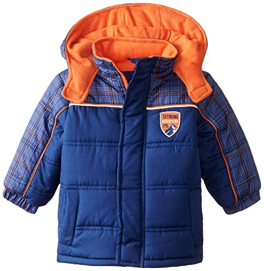 iXtreme Baby Boys' Tonal Plaid Puffer, Navy, 12 Months