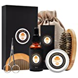 XIKEZAN Mens gifts for Men Beard Care Grooming & Trimming Kit Unscented Beard Conditioner Oil + Mustache & Beard Comb+Balm Wax+Brush+Mustache Scissors for Styling Shaping & Growth