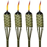 TIKI Brand 57-Inch Luau Bamboo Torches - 4 pack (Color: beige, Tamaño: 4 Pack)