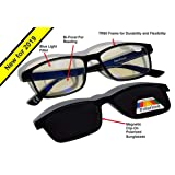 MaxFocal Blue Light Filter Computer/Gaming/Reading Glasses - Magnetic Clip-on Polarized Sunglass - Zero to +3.00 BiFocal Magnification (Black, 1.50 Power) (Color: Black, +1.50 Power)