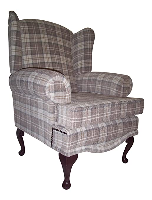 Cottage/Wing Back/ Queen Anne Chair in Cream Lana Tartan on QA Legs