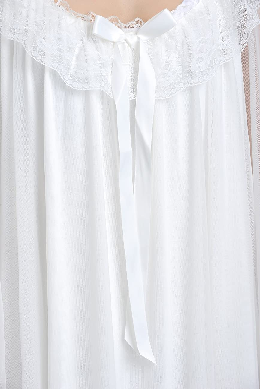 Latuza Women's Long Sheer Vintage Victorian Nightgown with Sleeves 4