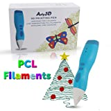 3D Printing Pen 3D Drawing Pen PCL Filaments Art and Craft Doodler Low Temperature Safe for Kids Modeling Pen Wireless USB Charging Clog Free Arty3D Blue (Color: Blue)