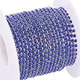 BENECREAT 10 Yard Crystal Rhinestone Close Chain Clear Trimming Claw Chain Sewing Craft About 2880pcs Rhinestones, 2mm - Sapphire (Silver Bottom) (Color: Sapphire (Silver Bottom), Tamaño: 2mm)