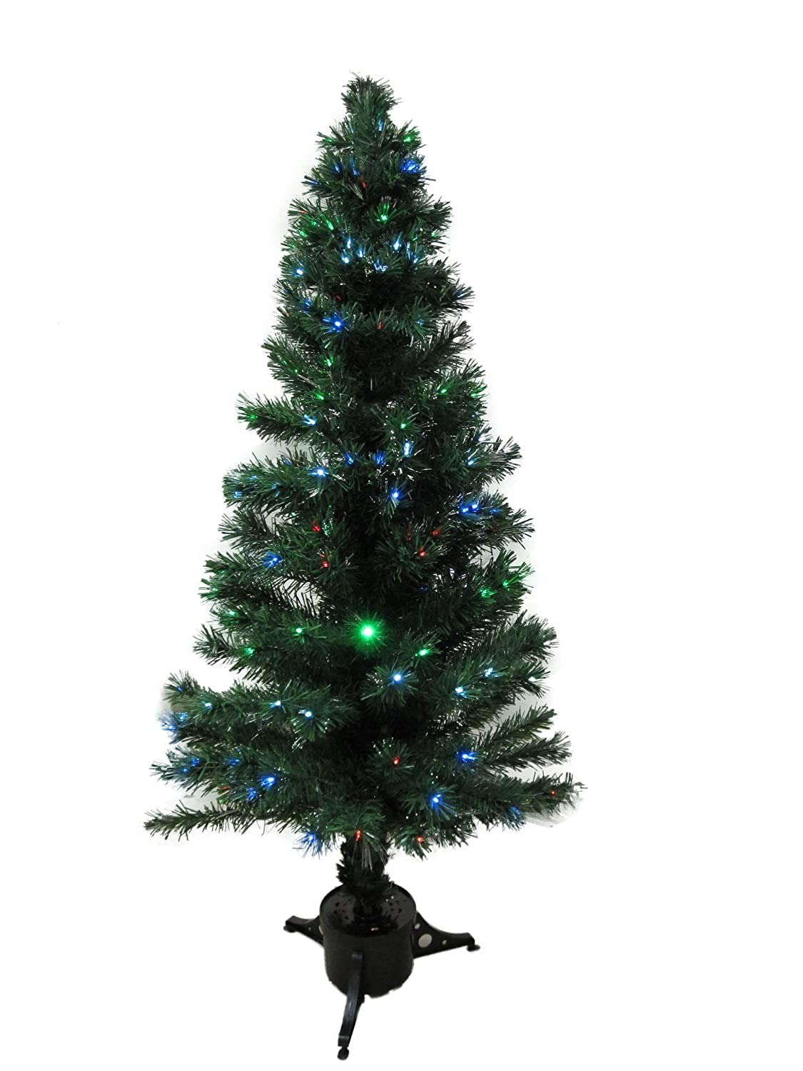 Christmas Trees 5.5' Green Pre-Lit Artificial Fiber Optic Lighted Christmas Tree + MULTICOLOR LED Lights Home Decoration at Sears.com