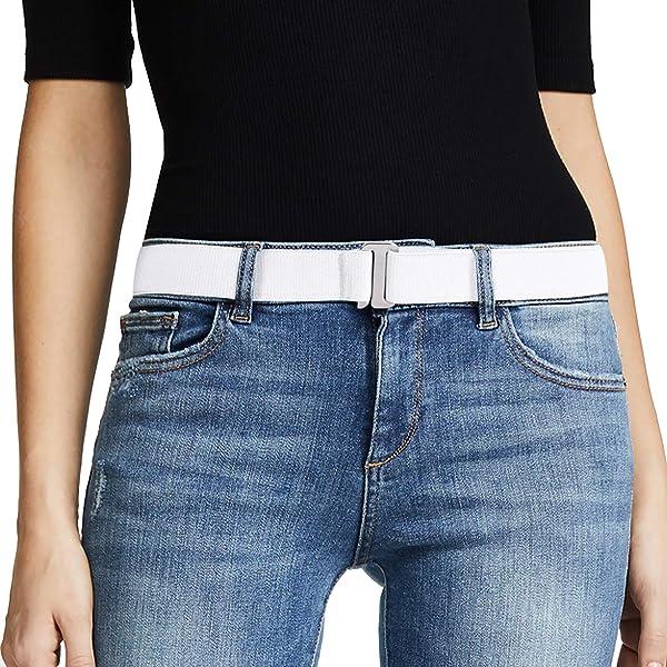 Women Invisible Belt for Men 3Pcs No Show Stretch Web Belt Slimming Flat Buckle for Jeans Pants Dress